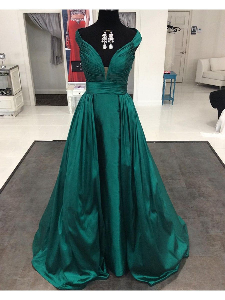 Long Green V-Neck Prom Formal Evening Party Dresses 996021110 ...