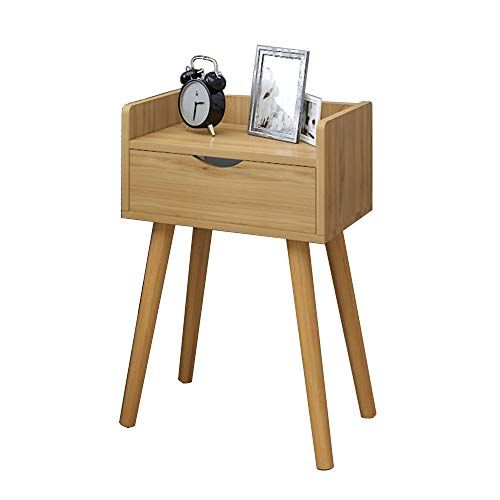 Zhirong Retro Style Bedside Table 1 Drawer Cabinet Storage Organiser Unit Bedroom Furniture 40 X 30 60cm Color Wood