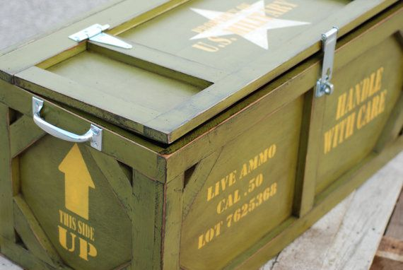 Childrens Jumbo Bedroom Room Tidy Toy Storage Chest Box Trunk: Toy Box Crate Furniture Military Ammo Box By