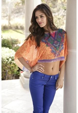 4e3b6551b59f6e I love this CHIFFON SCARF PRINT CROP TOP not as a  belly shirt  but i would  be lovely over a tank dress
