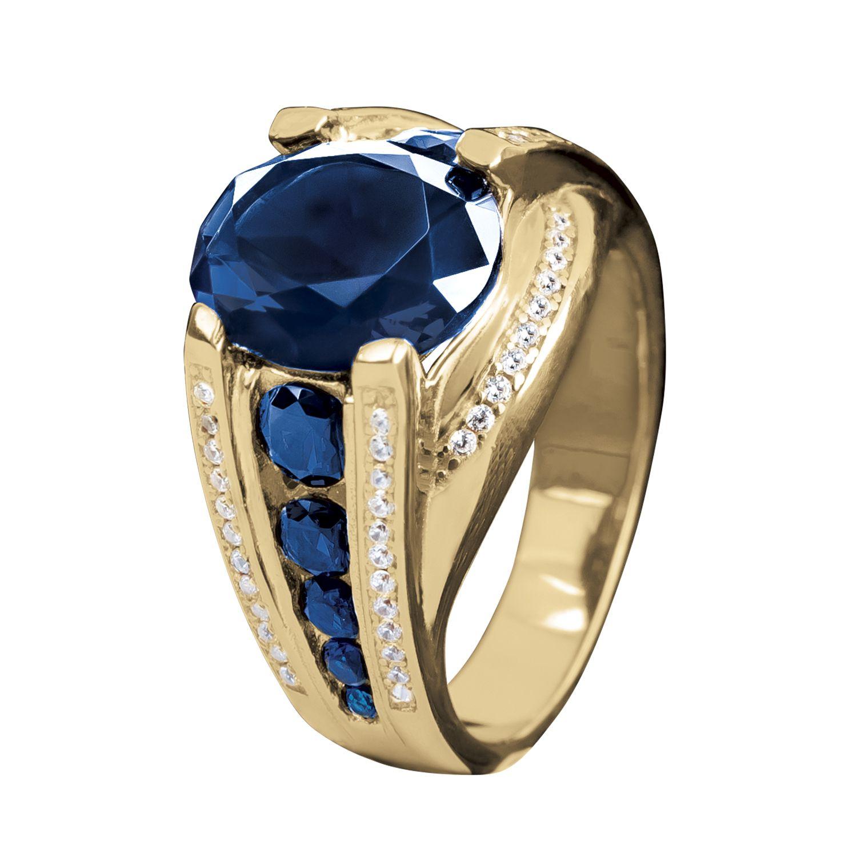 Size 8-12 Fashion Aquamarine 18K Gold Filled Rings For Men Wedding Jewelry