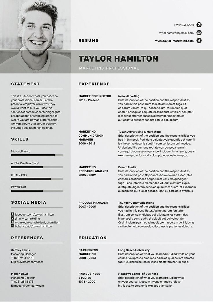 Resume Template Free Download Ms Word