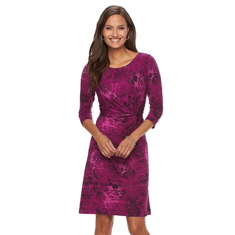 Petite Dana Buchman Printed Faux-Wrap Dress, Women's, Size: Xl Petite, Dark Pink