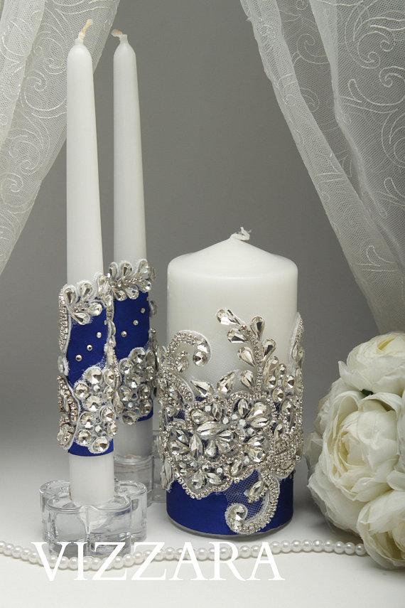 Unity Candle Sets Royal Blue Wedding Personalized Unity Candle Royal