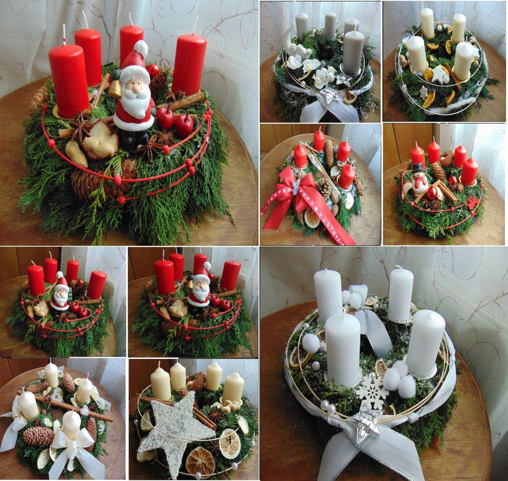 adventskranz frisch adventsdeko adventsgesteck weihnachtsdeko creme rot wei adventskr nze. Black Bedroom Furniture Sets. Home Design Ideas