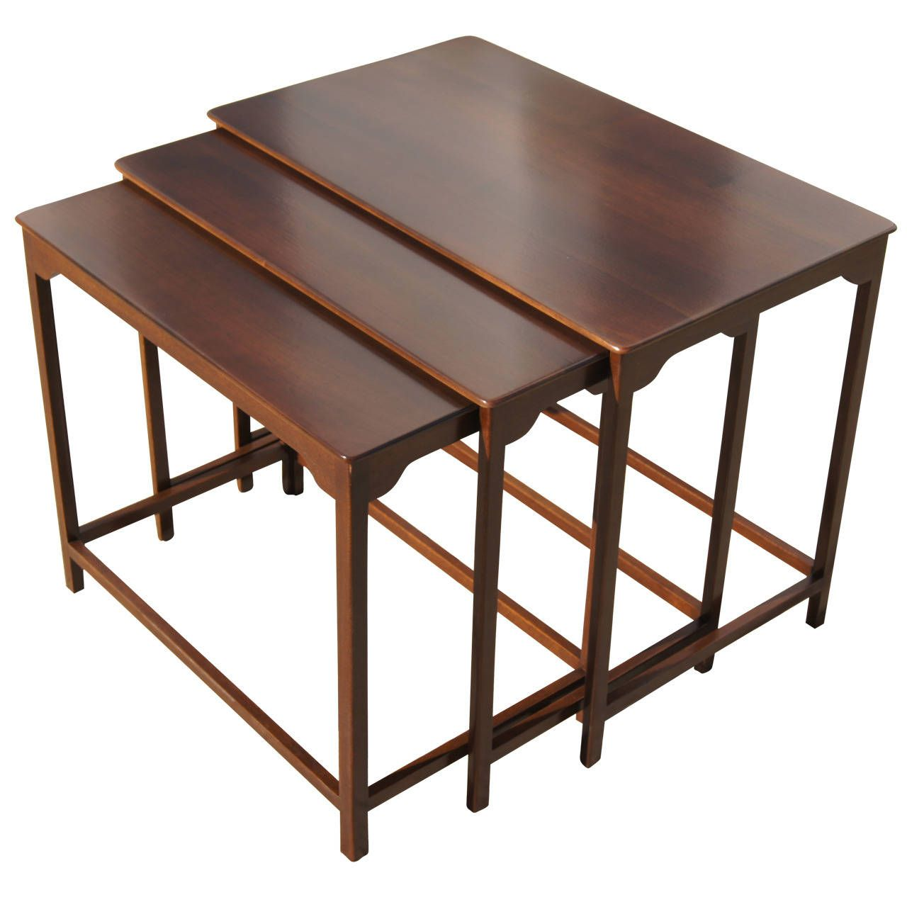 Set of Three Nesting Tables by Edward Wormley for Dunbar   From a unique collection of antique and modern nesting tables and stacking tables at https://www.1stdibs.com/furniture/tables/nesting-tables-stacking-tables/