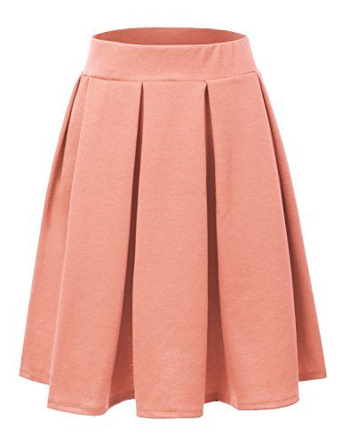 9fac4dd8a6c75 Doublju Elastic Waist Flare Pleated Skater Midi Skirt For Women With Plus  size PEACH X-LARGE