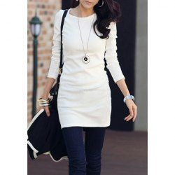 $6.22 Simple Style Cotton Blend Long Sleeves Round Neck Rhinestone Dress For Women