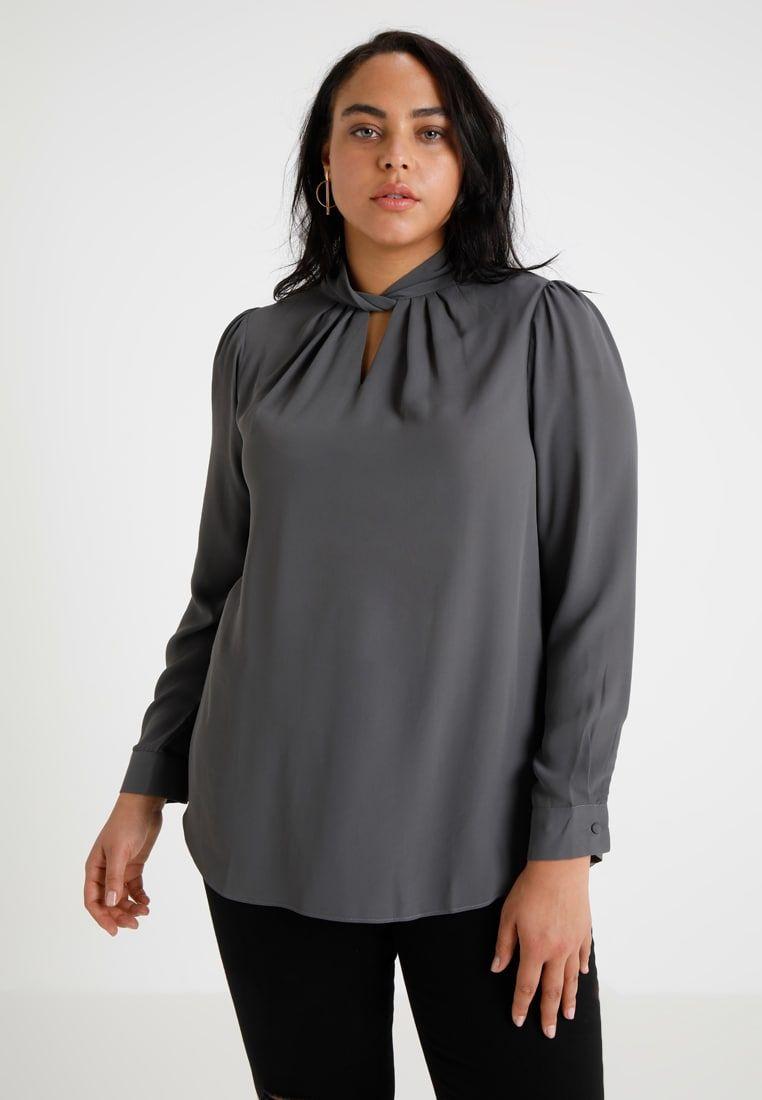 997fffa59d8e6 EMILY TWIST NECK - Bluse - charcoal @ Zalando.de 🛒   Plus Size ...