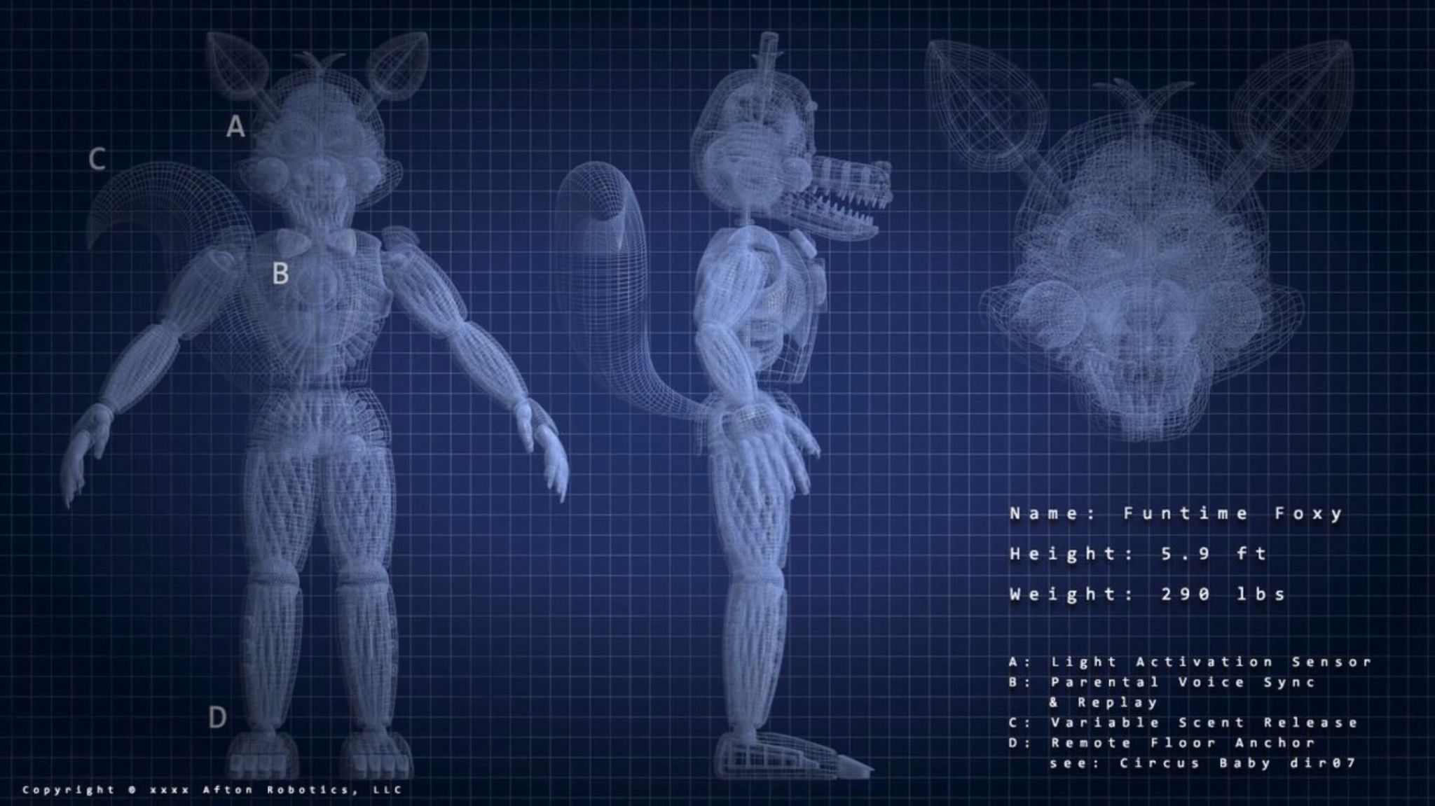 Funtime foxy blueprints five nights at freddys pinterest fnaf funtime foxy blueprints malvernweather Choice Image