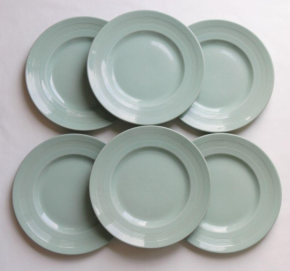 6 vtg c1940s Woods Ware BERYL green salad lunch breakfast plates 9  22.5cm & 6 vtg c1940s Woods Ware BERYL green salad lunch breakfast plates 9 ...
