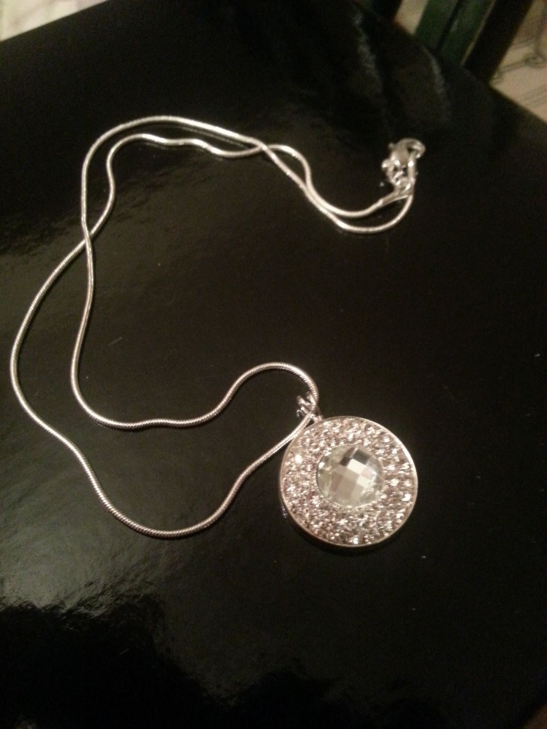 Faceted Rhinestone Pendant on a Sterling Silver by FrankieBeanz, $29.99