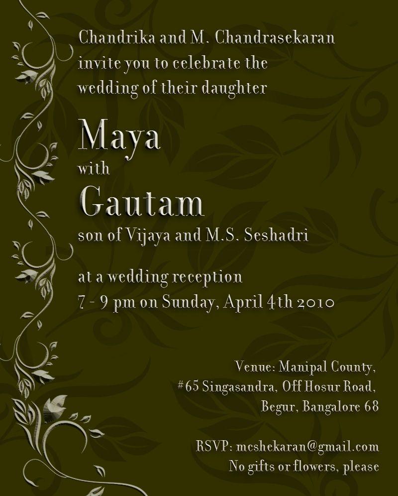 Dark Green Background With Floral Ornaments Wedding Invitation - Sample wedding invitation cards templates