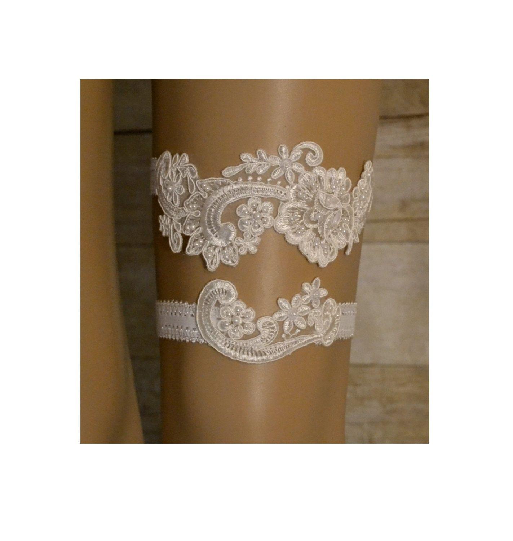 Ivory Wedding Garter Set, Lace Wedding Garter, Ivory Beaded Lace Garter Set…