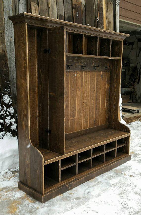Rustic reclaimed hall tree locker bench by echopeakdesign Hallway lockers for home