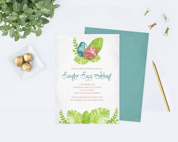 Easter Brunch Invitation Template, Editable Text Acrobat Reader ...