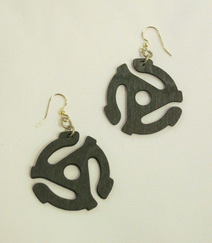 wooden 45 adapter earrings by Greentree