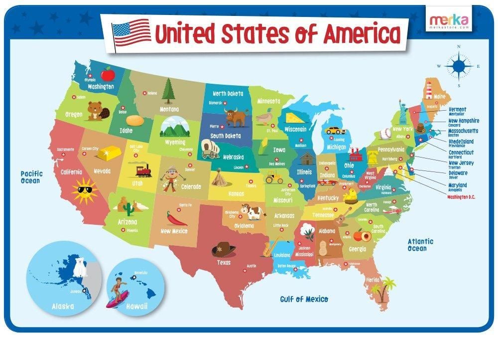 USA Map - Educational Kids Placemat - Laminated and Washable