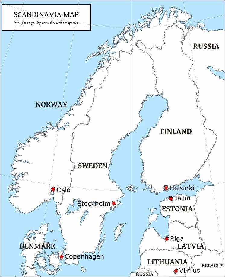 Coloring Map Of Europe Countries Beautiful Free Pdf Maps Of Scandinavia In 2020 Europe Map Map Europe
