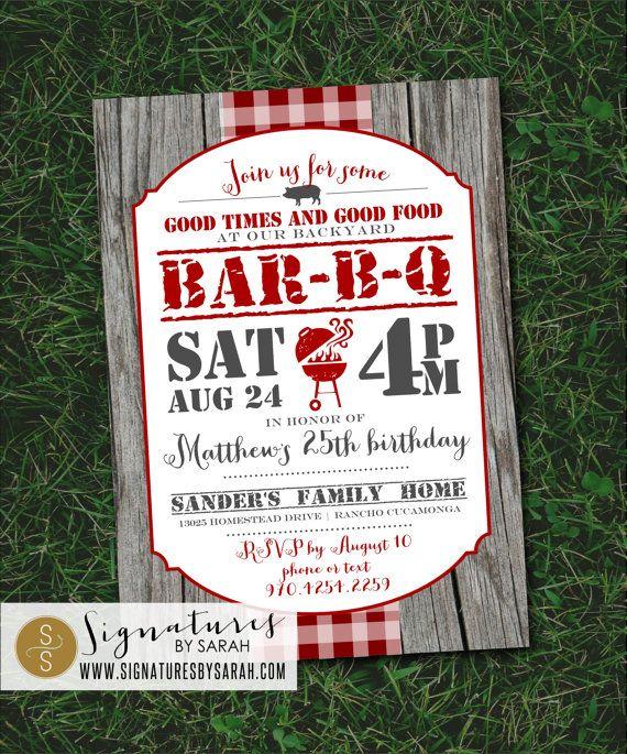 Printable BBQ backyard birthday party invite   Western cowboy invite ...