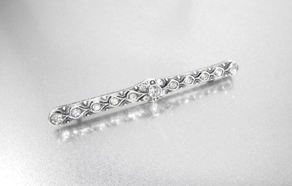 6c33a126274b Art Deco Sterling Bar Brooch. Drouve Diamond Paste Sterling Silver Pin.