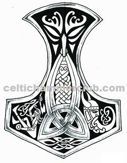 Viking Hammer Thor S Hammer Mjolnir Pendant Design With Odin S Ominous Face At The Top And His Beard Twi Viking Tattoo Symbol Mjolnir Tattoo Thor Hammer Tattoo