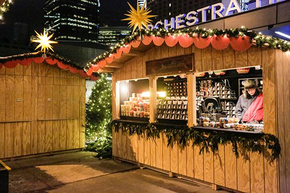 christmas market at the holidazzle village in minneapolis minnesota