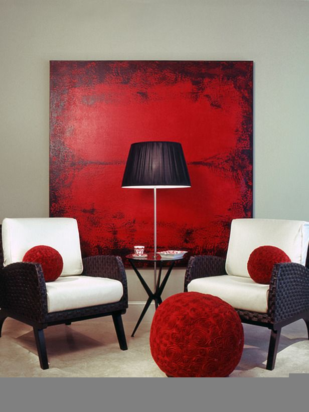 Red Black and White Living Room Decor6