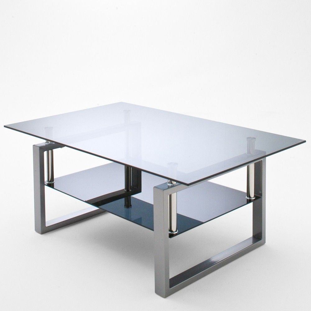 Megan Nest of Table Set In Clear Glass With Chrome Legs