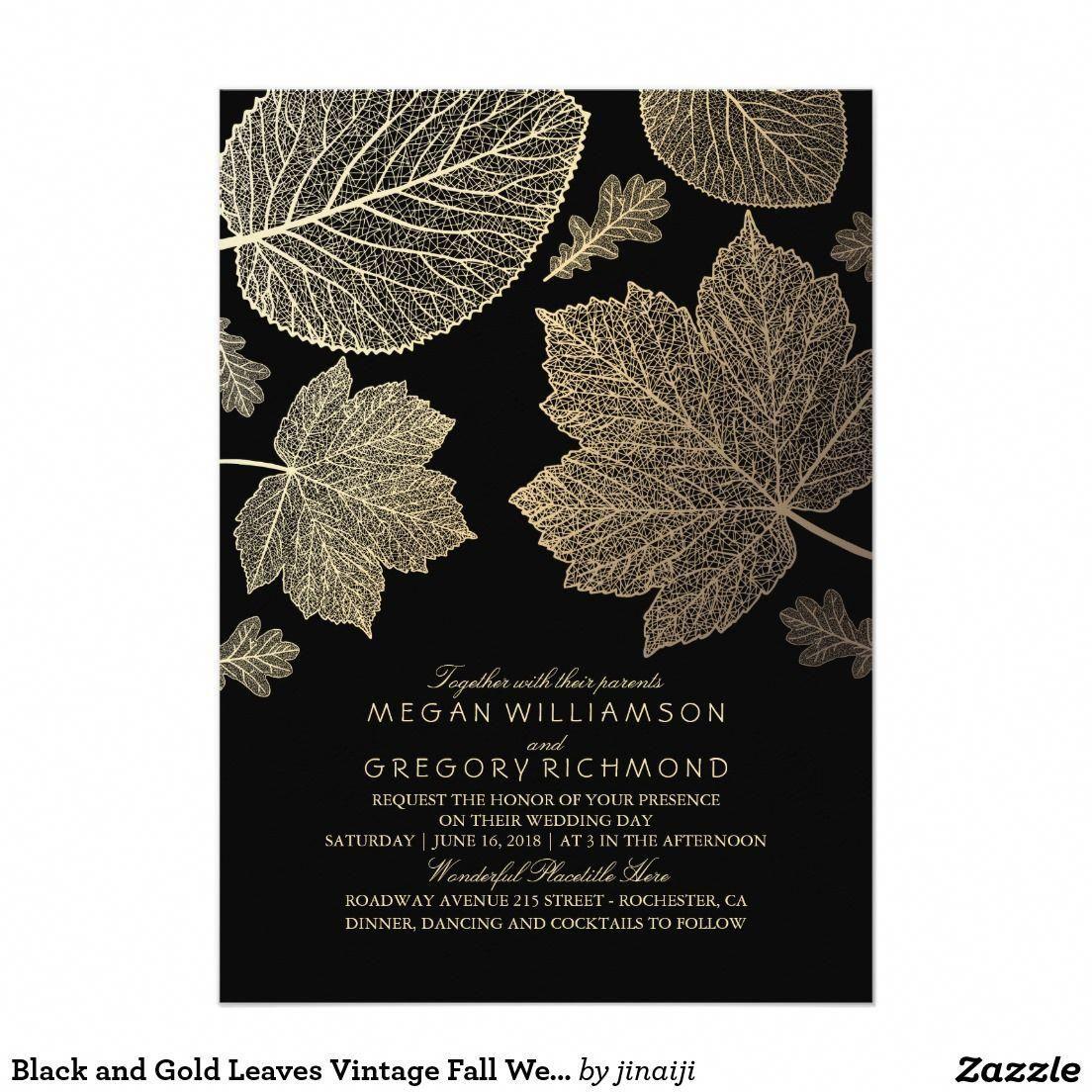 Black And Gold Leaves Vintage Fall Autumn Chic Elegant Wedding Invites…: Inexpensive Fall Wedding Invitations At Websimilar.org
