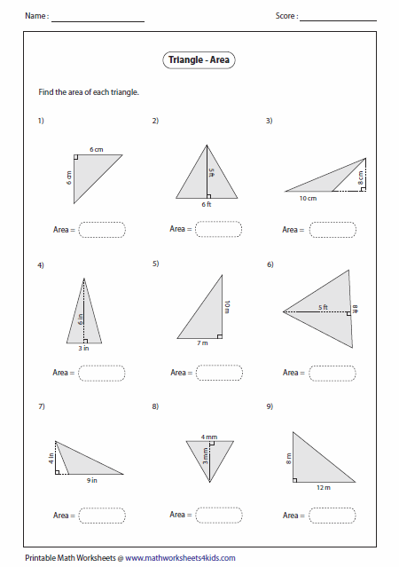 Area of triangle worksheet with answers