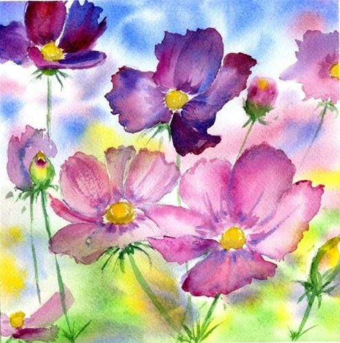 Daily Paintworks Cosmos Flowers By Sonia Aguiar Watercolor