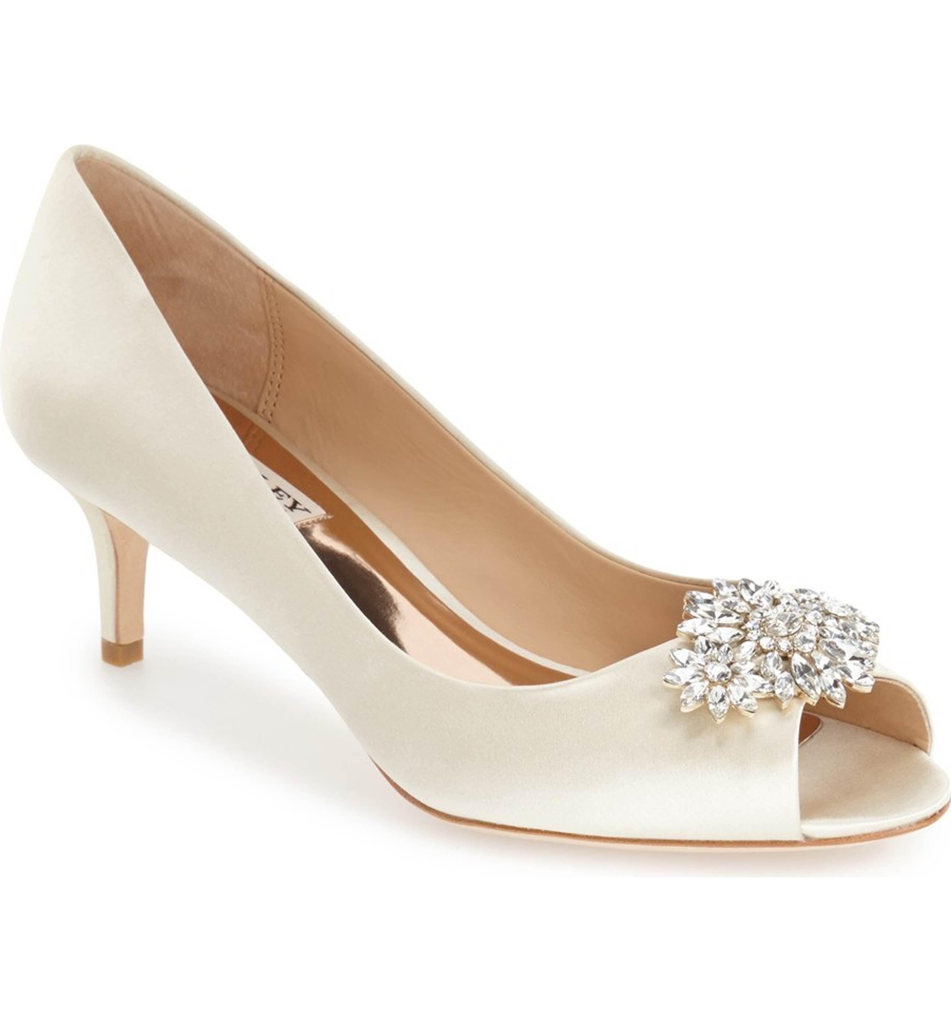 Main Image Badgley Mischka Nakita Kitten Heel Peep Toe Pump Women Wedding Shoes Heels Kitten Heel Wedding Shoes Bridesmaids Heels
