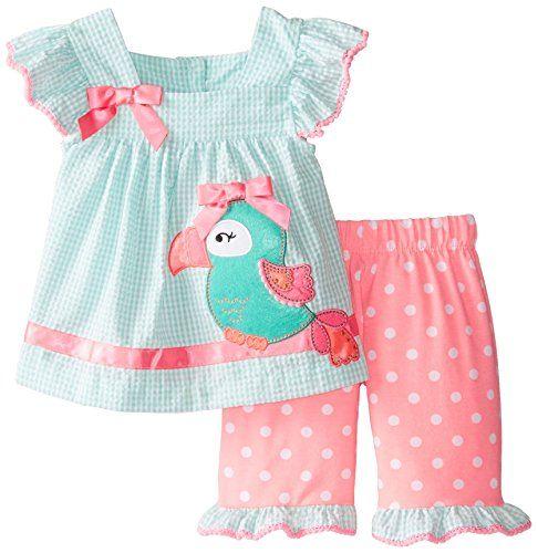 Little Girls 2T-6X Mint-Green//White Polka Dot Octopus Applique Top//Shorts Set