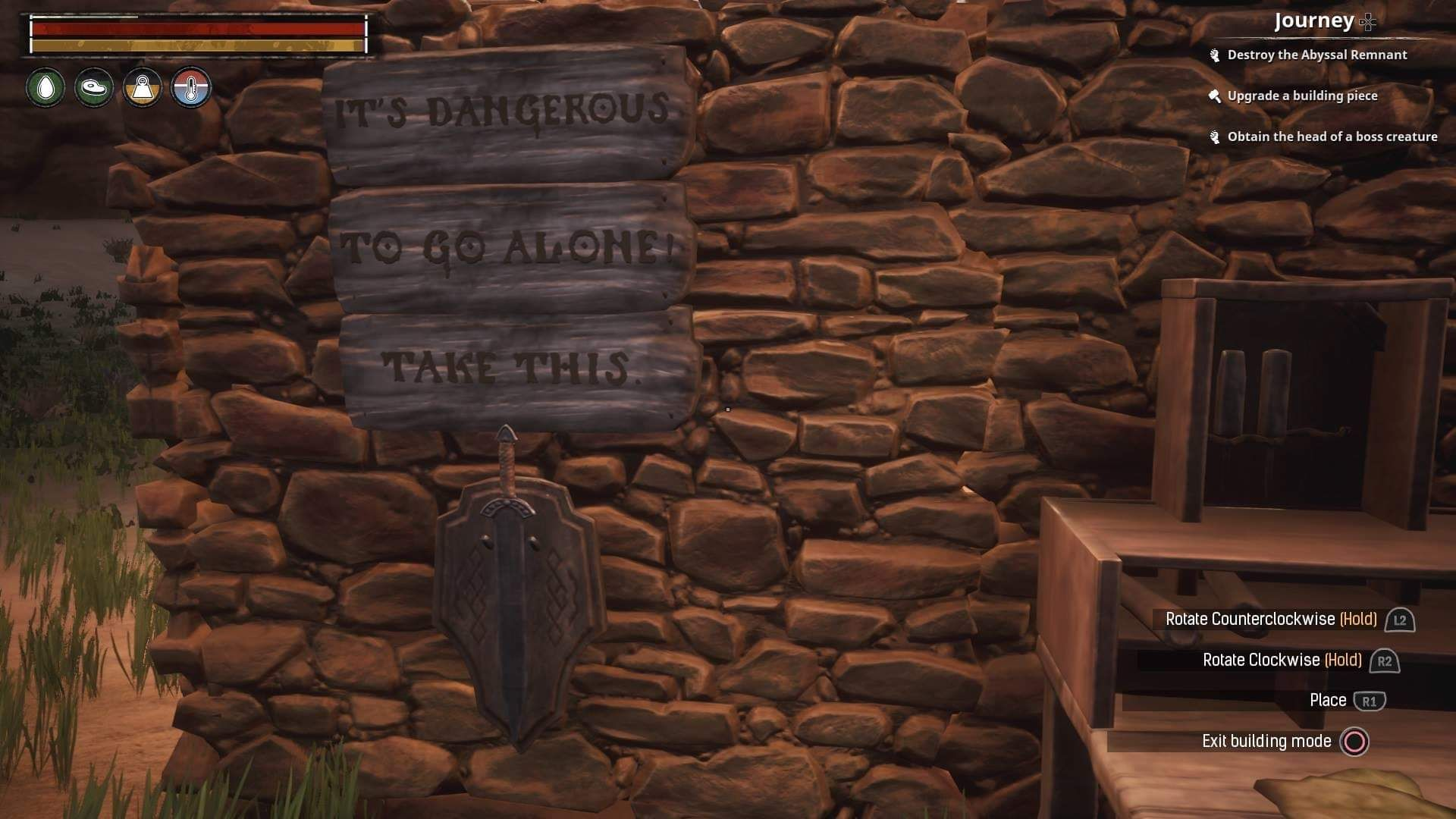 Once I Realized There Were Signs And Weapon Racks In The Game I Made The Obligatory Wall Decoration Conanexiles Conan Exiles Racks Conan The Barbarian