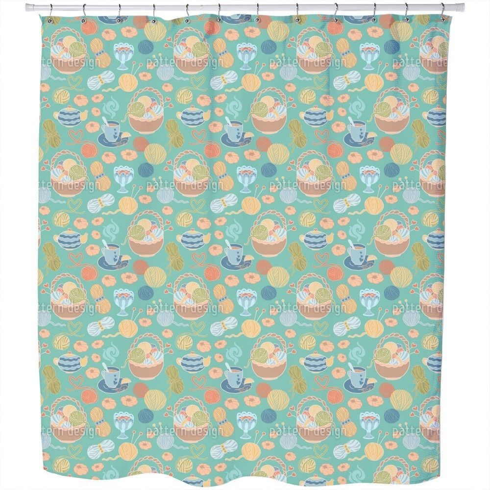 Uneekee Knitting with Love Shower Curtain