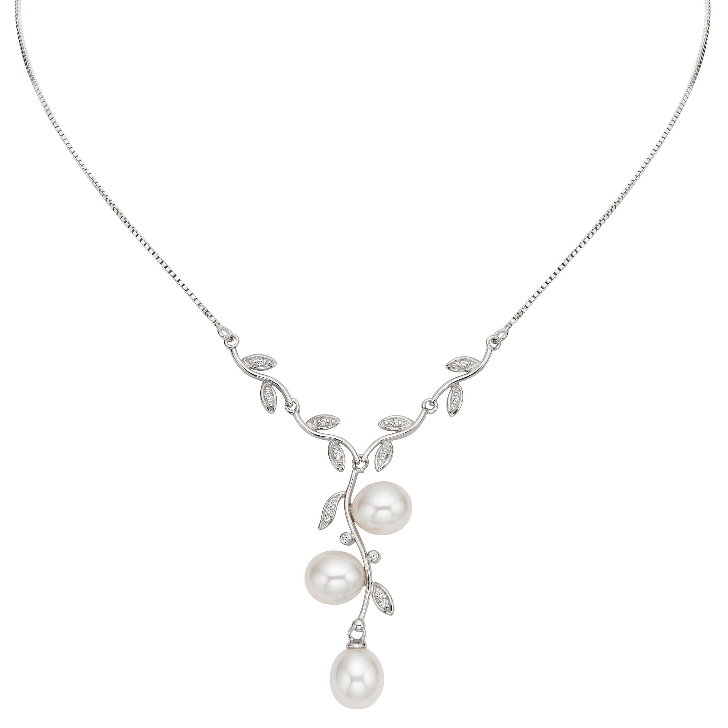 Embellish your ensembles with this sterlingsilver pearl leaf
