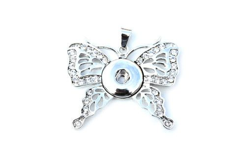 Rhinestone Butterfly Snap Pendant Necklace