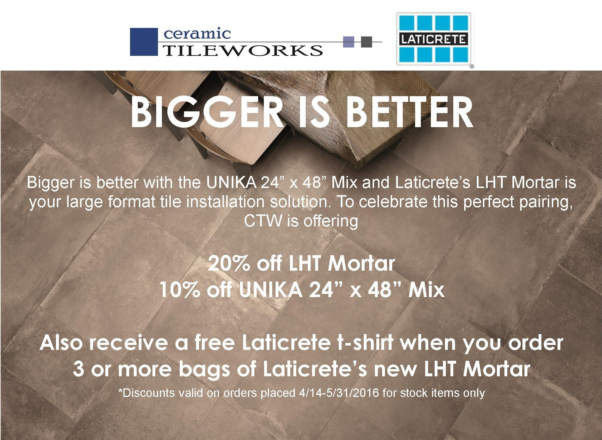 Bigger Is Better With This Special Offer On Laticrete LHT Large - Best thinset for large porcelain tile