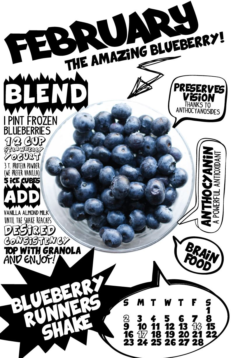 February–Blueberry Runners Shake  2014 Superfood Recipe Wall Calendar by lizcarverdesign on Etsy, $29.00