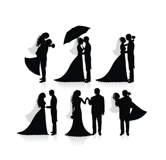 Wedding Silhouette Digital Clipart Png Files Bride And Groom Etsy Wedding Silhouette Bride And Groom Silhouette Couple Silhouette