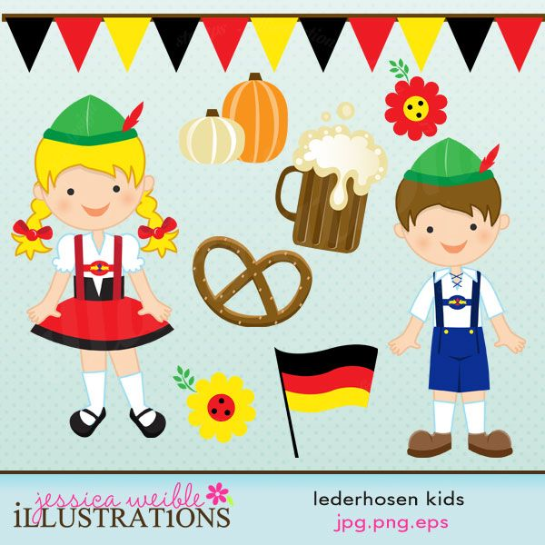 Lederhosen Kids Cute Digital Clipart Oktoberfest Kids