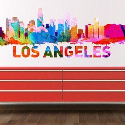 Los Angeles Skyline Watercolor Stickers Moon Wall Stickers - Custom vinyl stickers los angeles