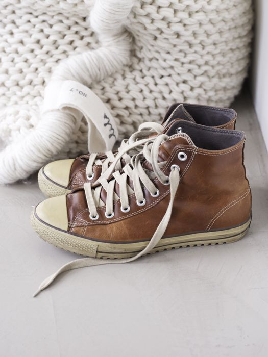 Brown leather high top Chucks | Leather converse, Converse