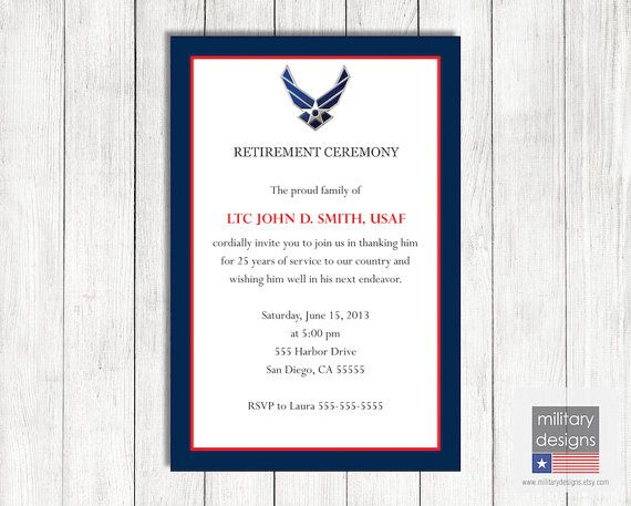 Air Force Retirement Ceremony Invitation Printable Us Air Force