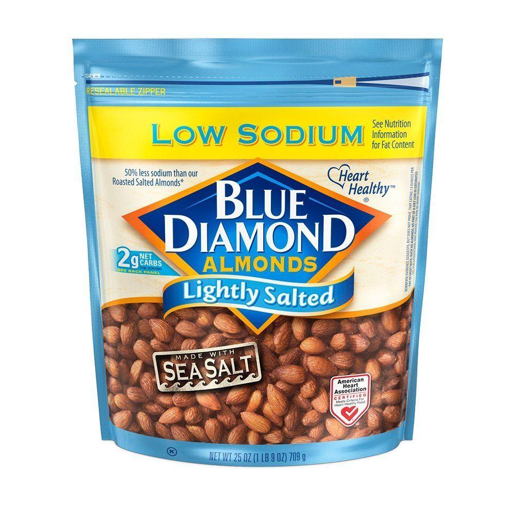 Blue Diamond Gluten Free Almonds, Low Sodium Lightly Salted, 25 ...