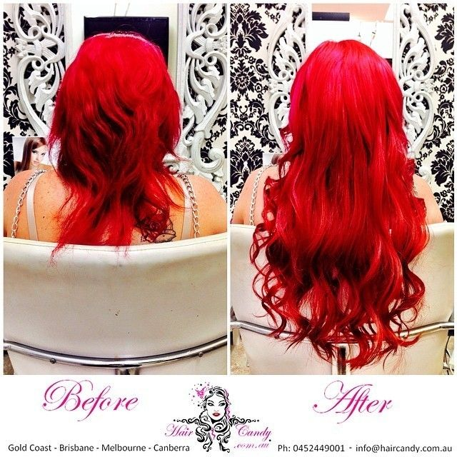 Hair Candy Hair Extensions Before After Bright Fire Engine Red