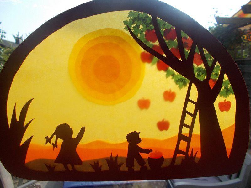 Waldorf transparentbild herbst von puppenprofi auf dawanda for Herbstdeko fensterbilder