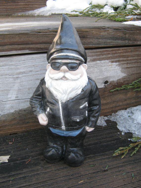Gnome Garden: Biker Gnome Concrete Garden Statue, Gnomes In Black