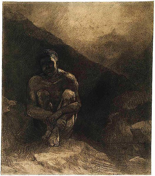 Redon: Primitive Man (Seated in Shadow)...black chalk highlighted with white and ochre gouache.